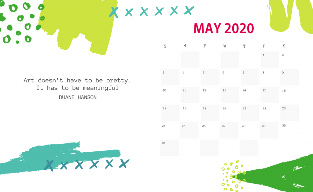 Printable May 2020 Desk Calendar