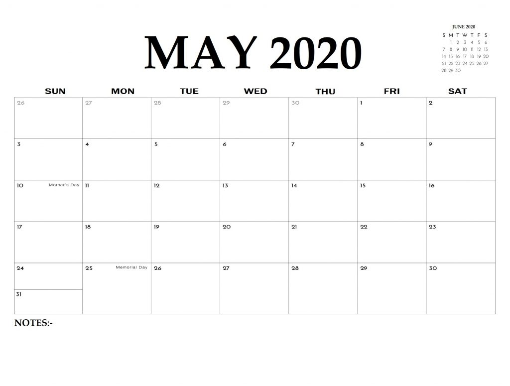 Printable May 2020 Editable Calendar