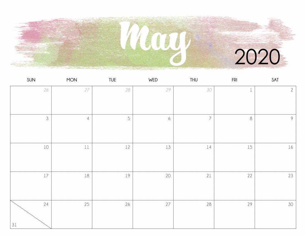 Watercolor May 2020 Cute Calendar