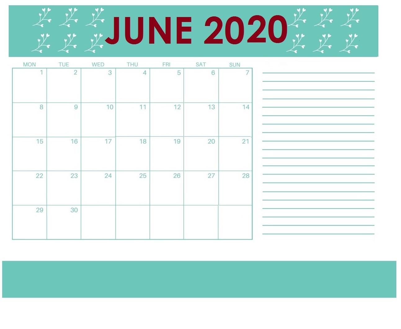 Blank June 2020 Desk Planner