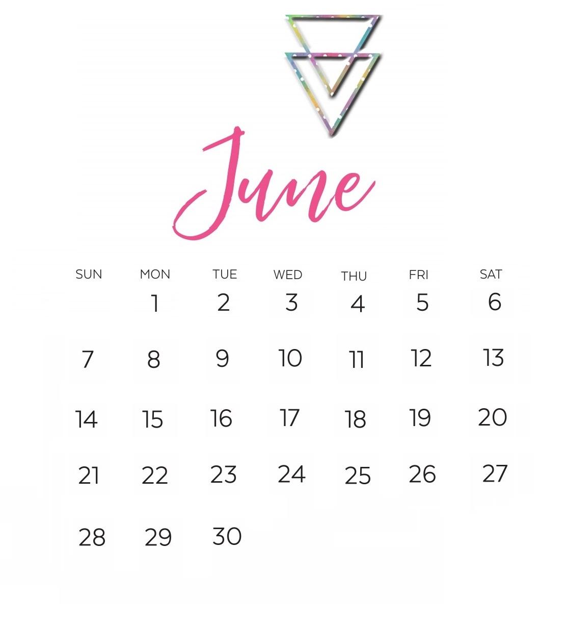Calligraphy June 2020 Desk Calendar