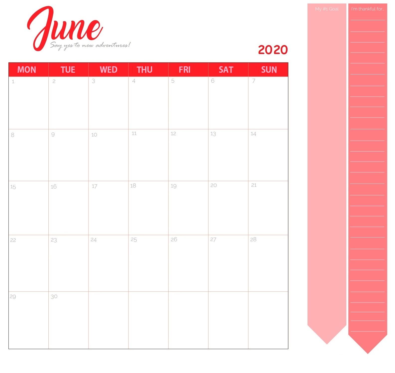 Cute June 2020 Desk Calendar