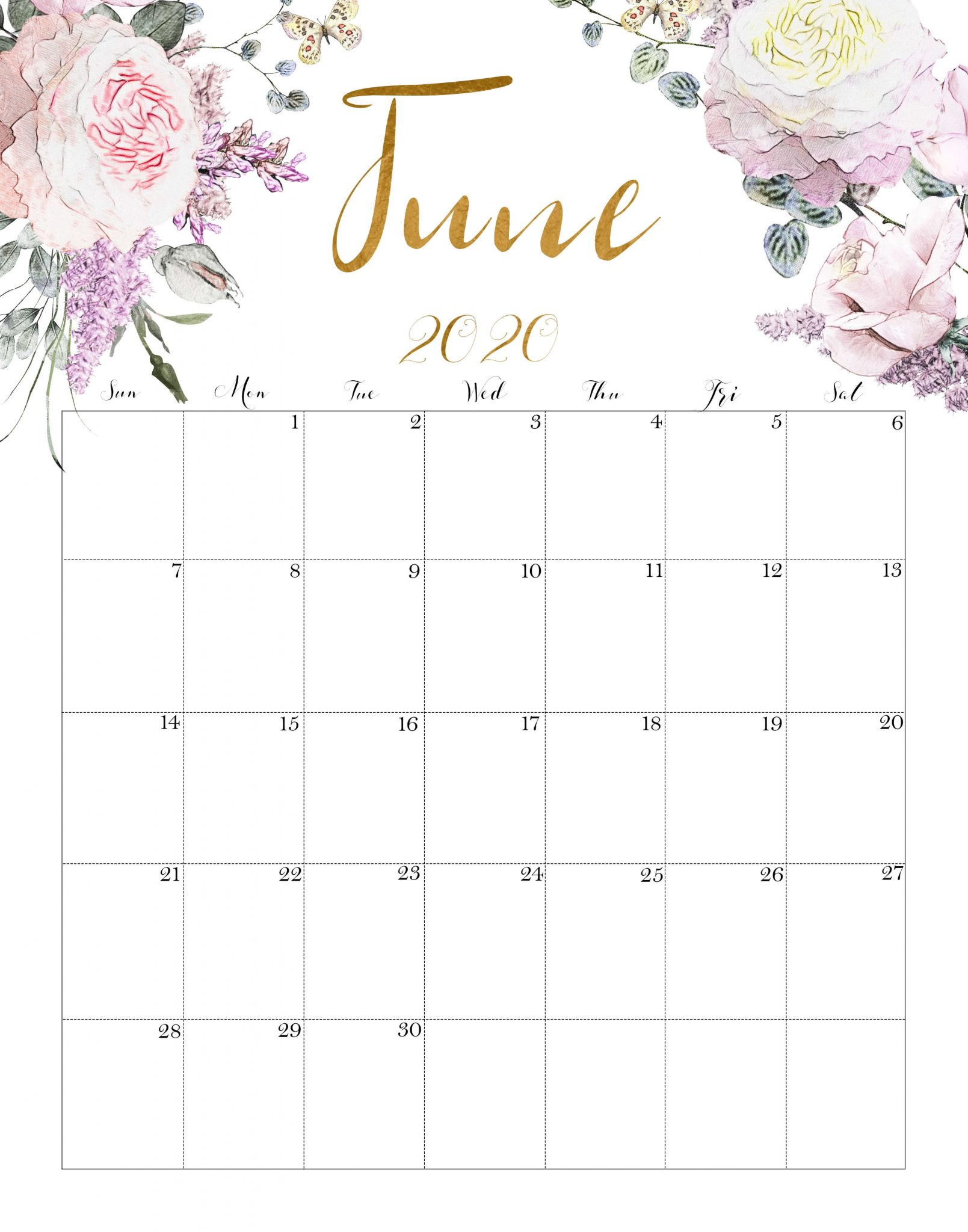Floral June 2020 Calendar Printable