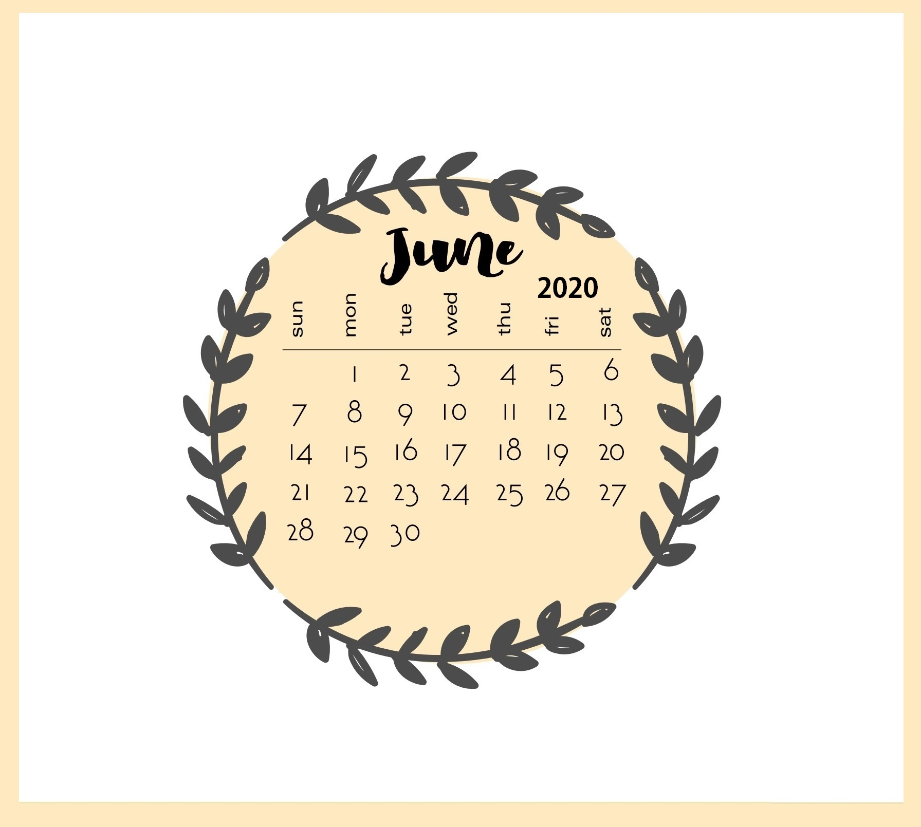 Floral June 2020 Monthly Calendar