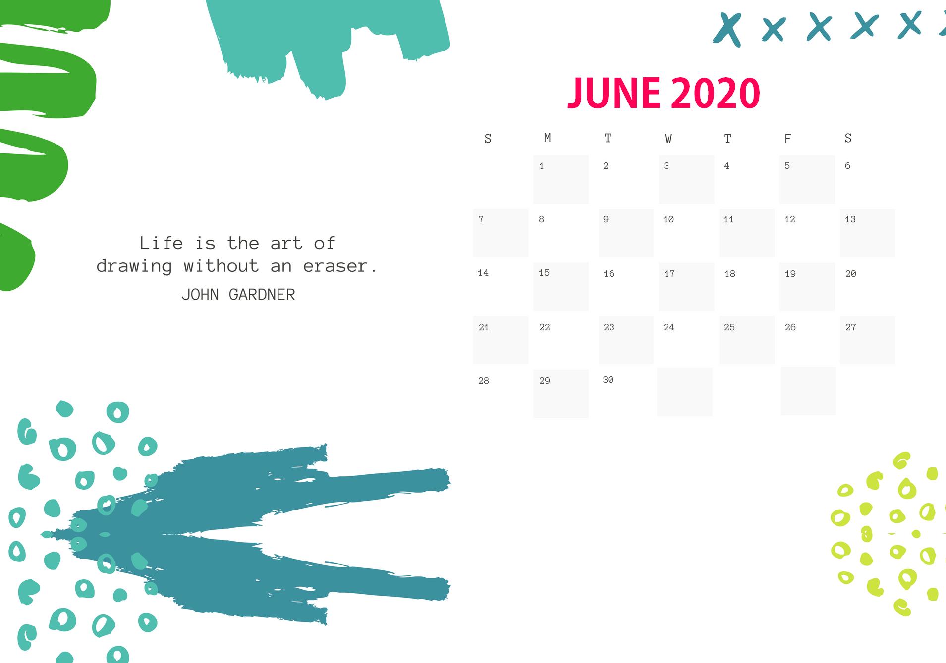 Free June 2020 Desk Calendar