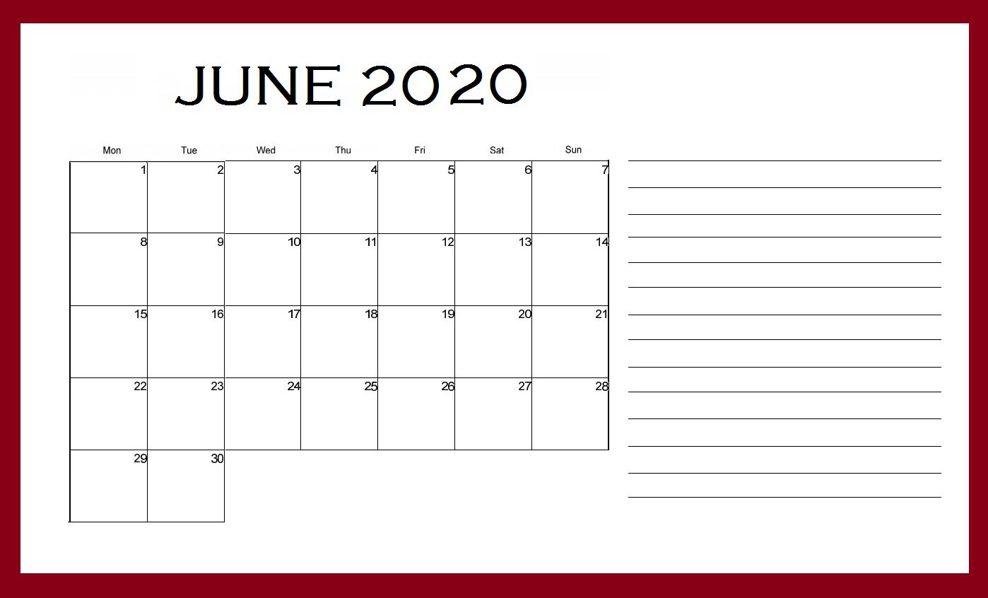 June 2020 Desk Calendar Template