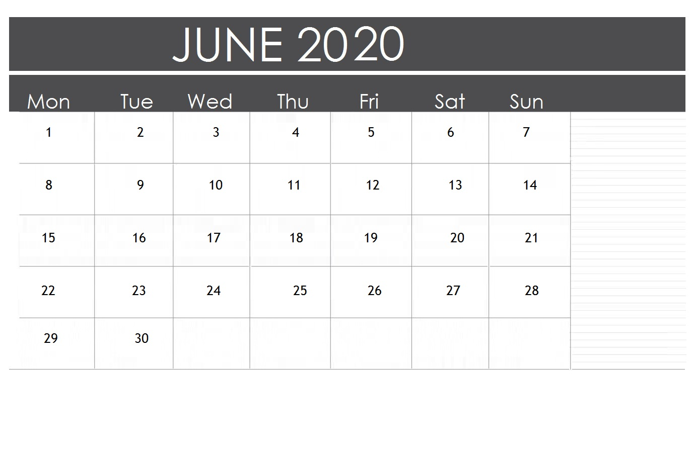 June 2020 Office Table Calendar
