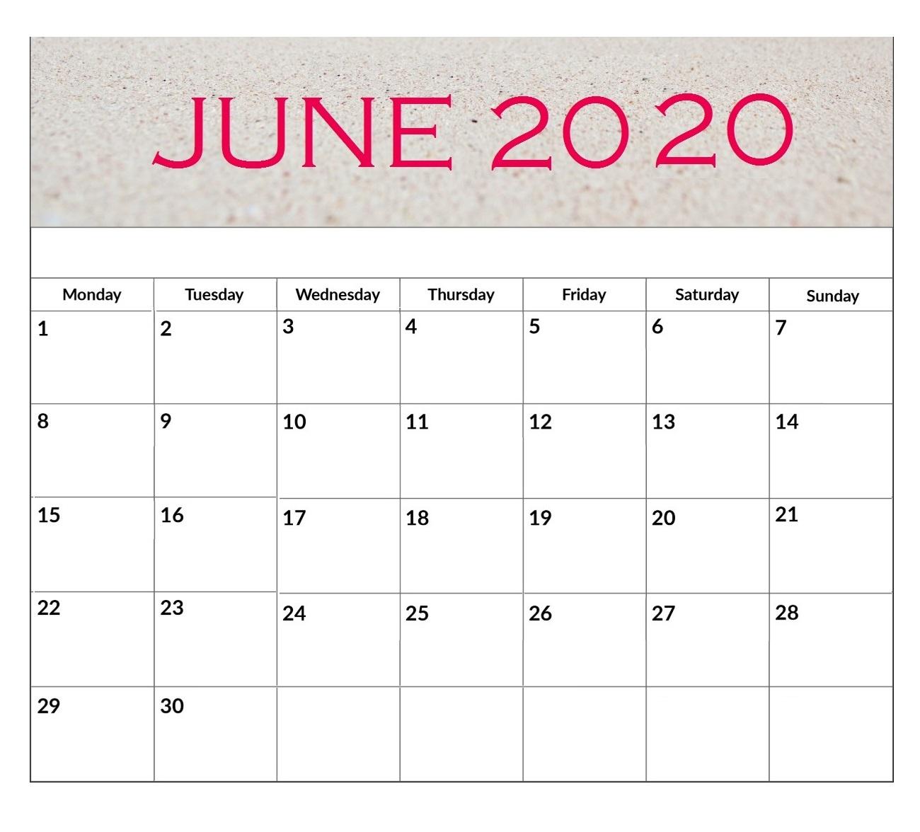June 2020 Printable Desk Calendar