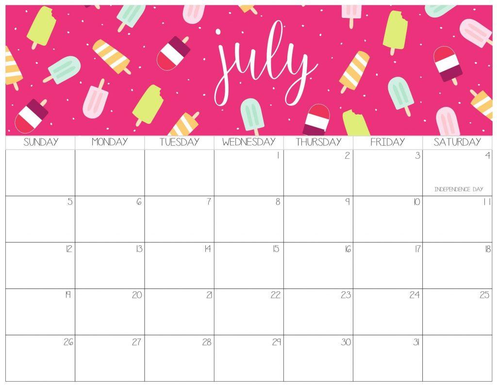 Beautiful July 2020 Calendar