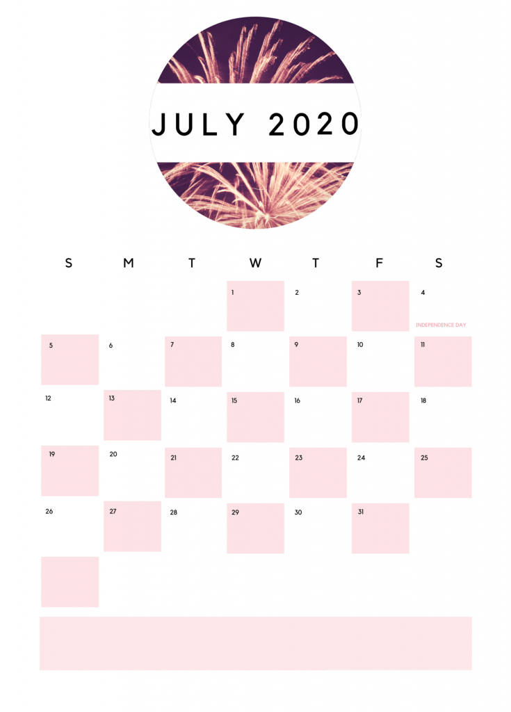Best July 2020 Printable Calendar