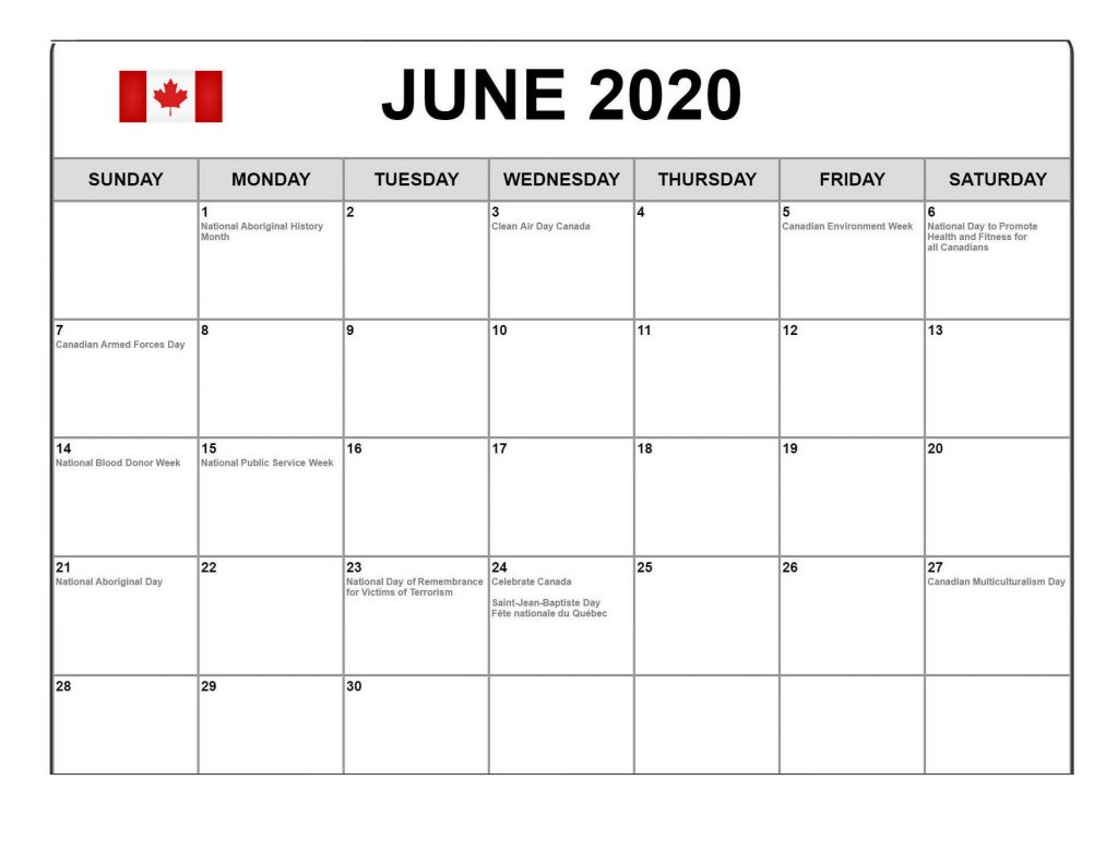 Canada June 2020 Federal Holidays