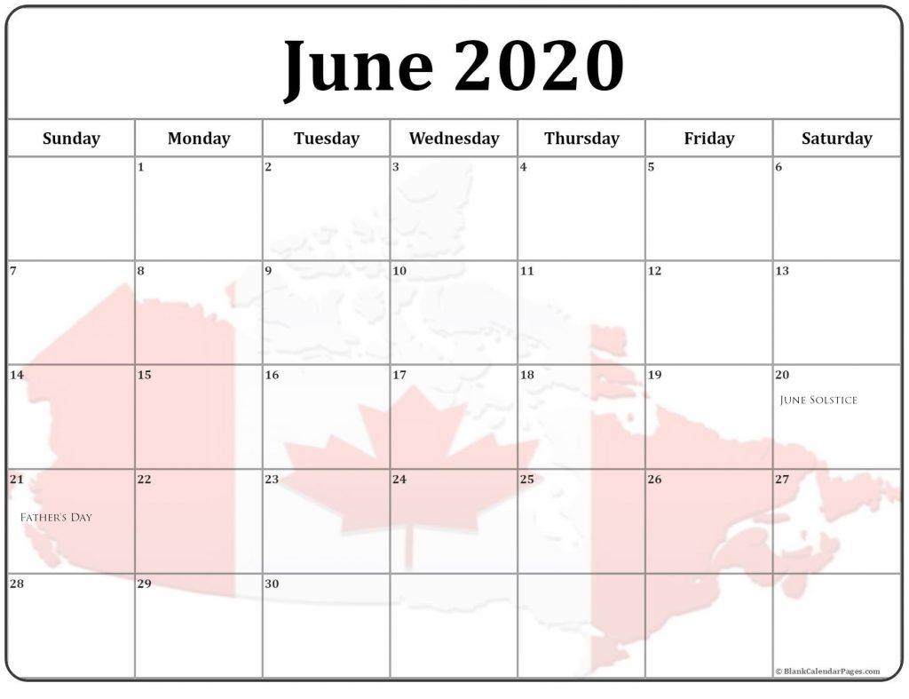 Canada June 2020 Holidays Calendar