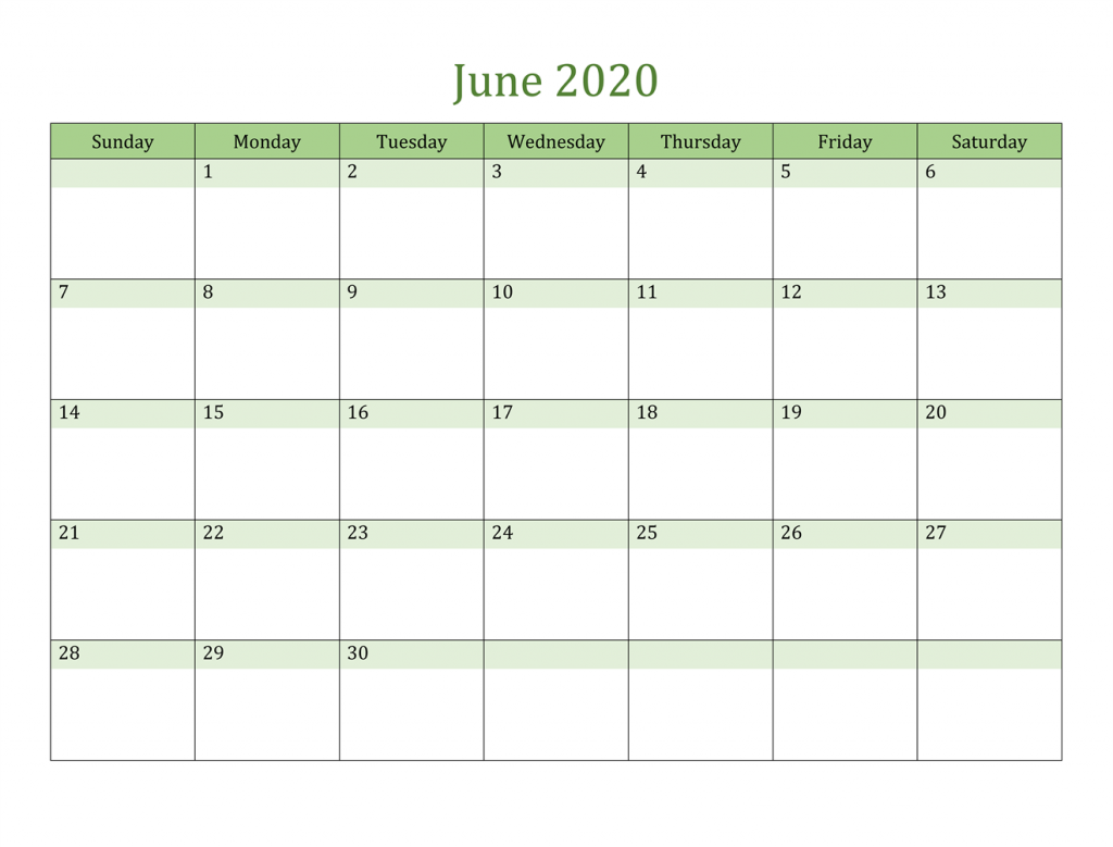 Customized June 2020 Calendar