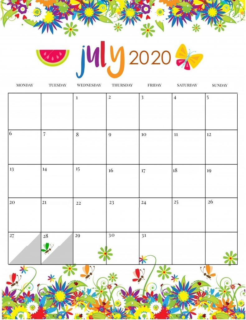 Cute July 2020 Calendar Printable