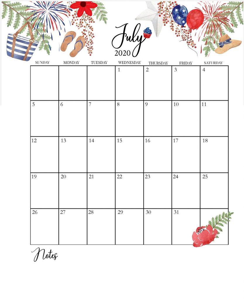 Cute July 2020 Floral Calendar