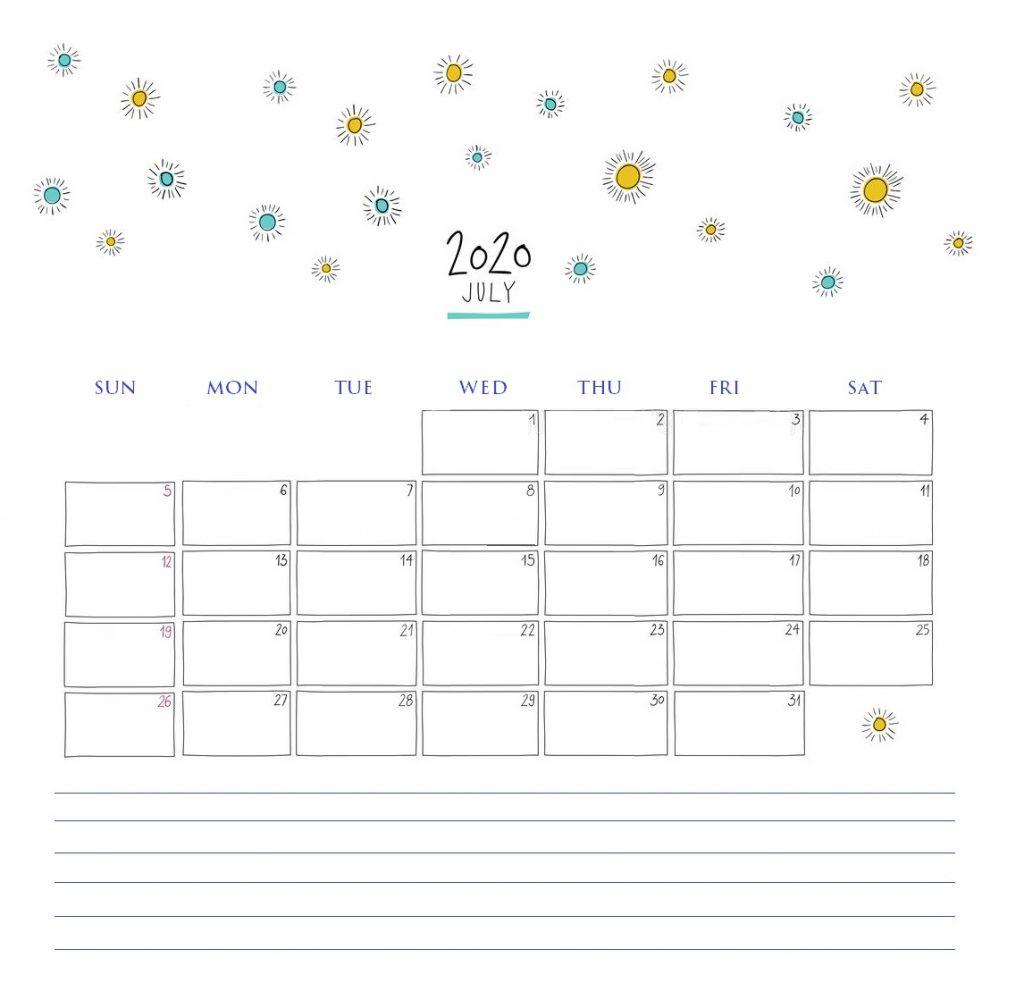 Cute July 2020 Printable Calendar
