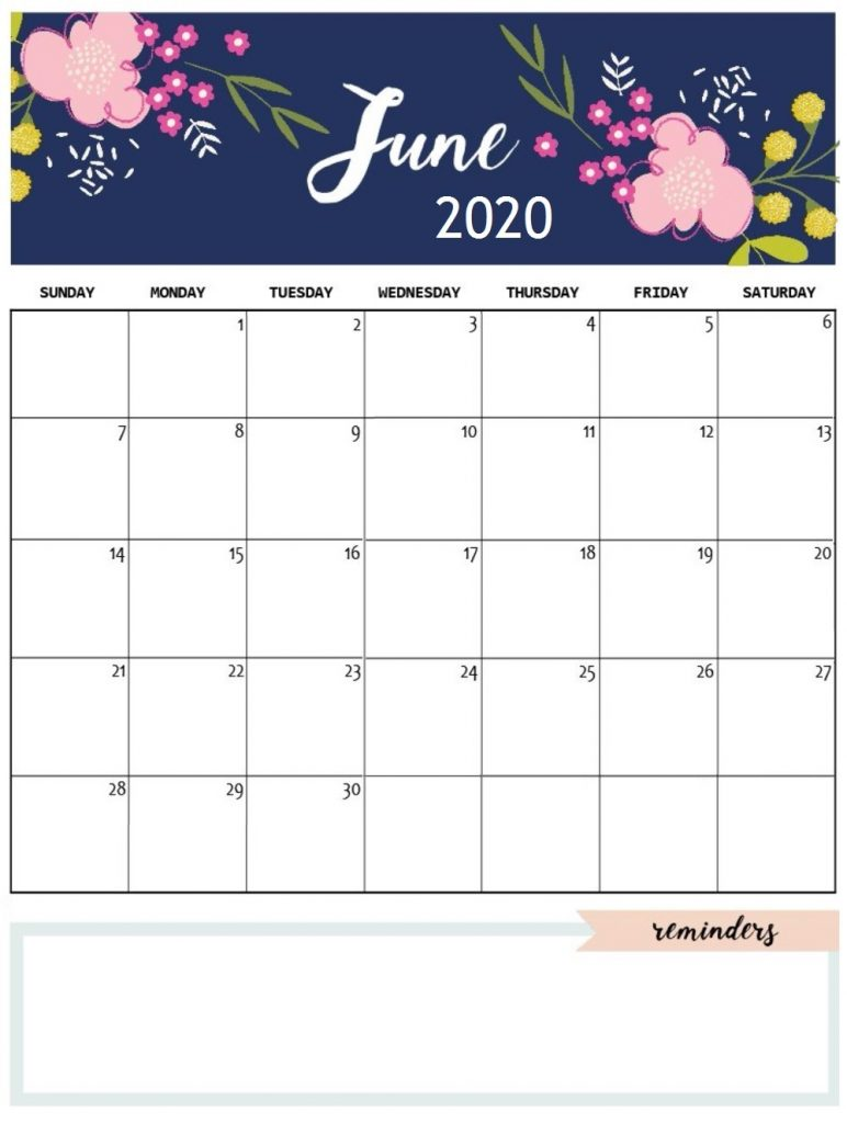 Cute June 2020 Floral Calendar