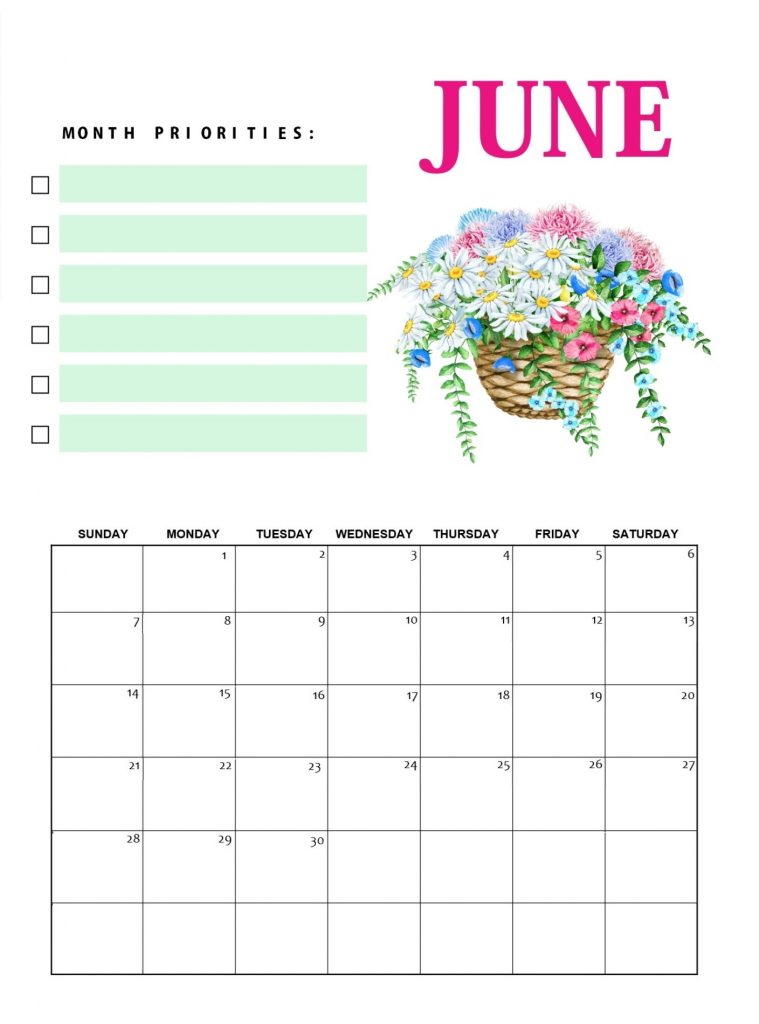 Floral June 2020 Printable Calendar