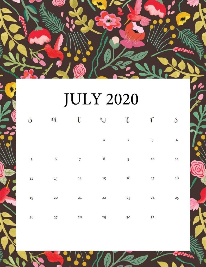 Free July 2020 Cute Calendar