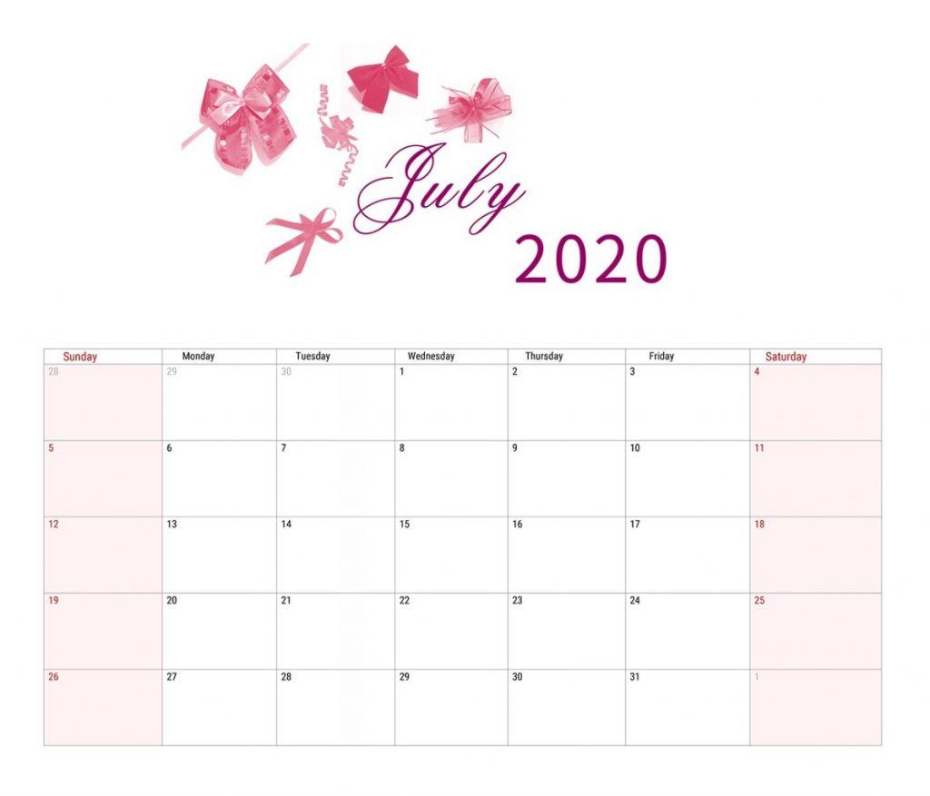 July 2020 Calendar Cute