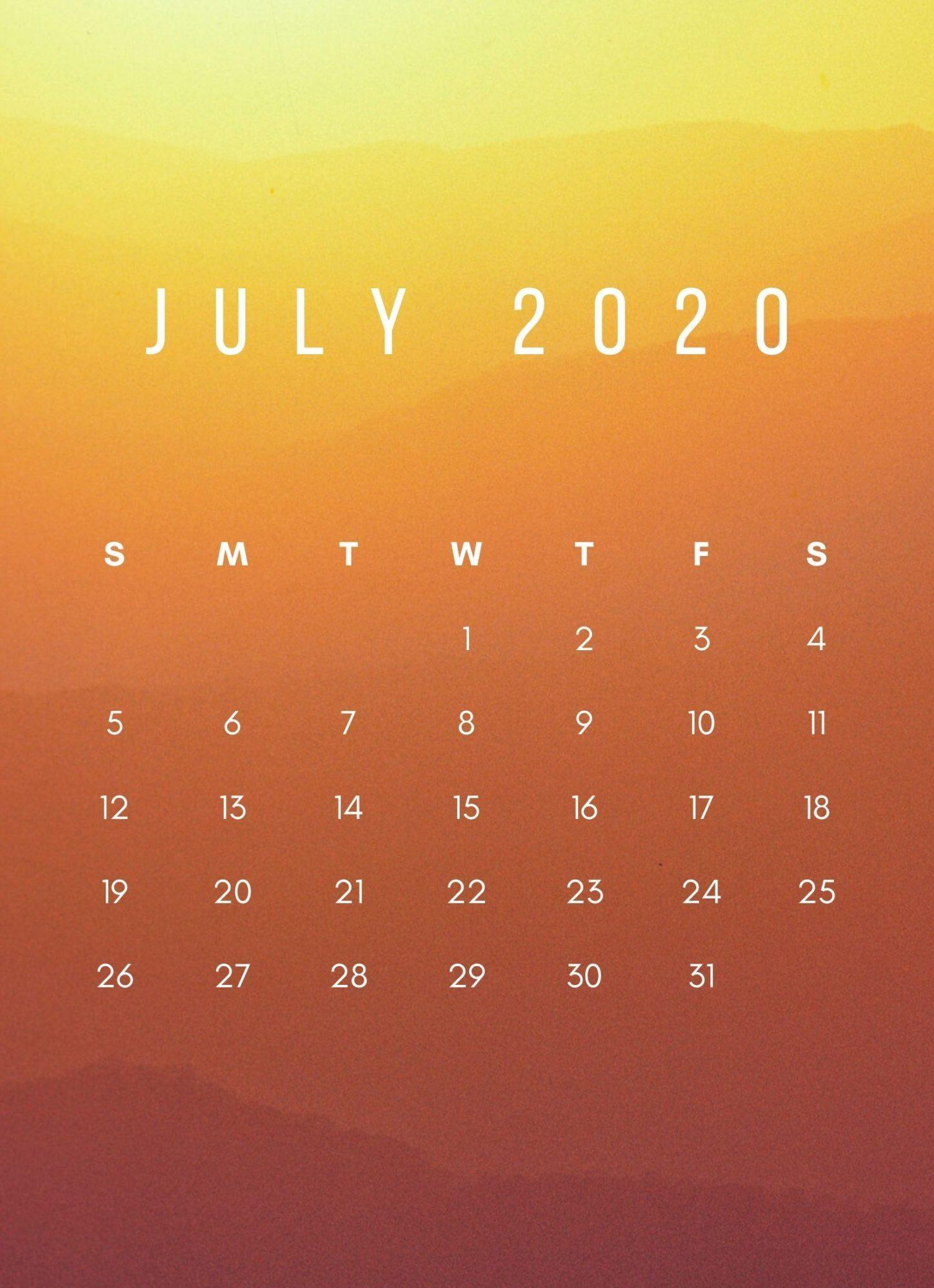 July 2020 Calendar Sunrise Wallpaper