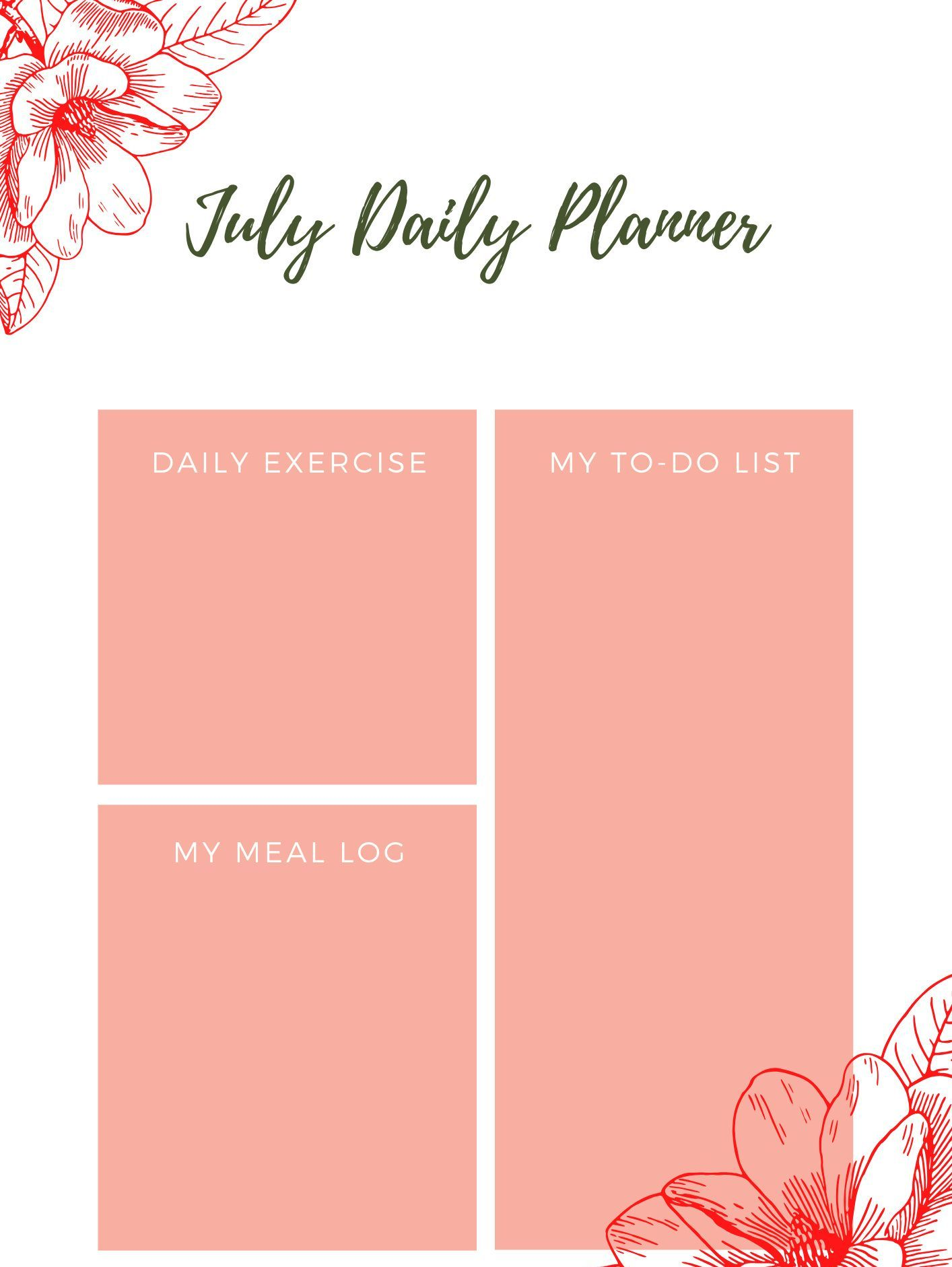 July 2020 Daily Printable Planner