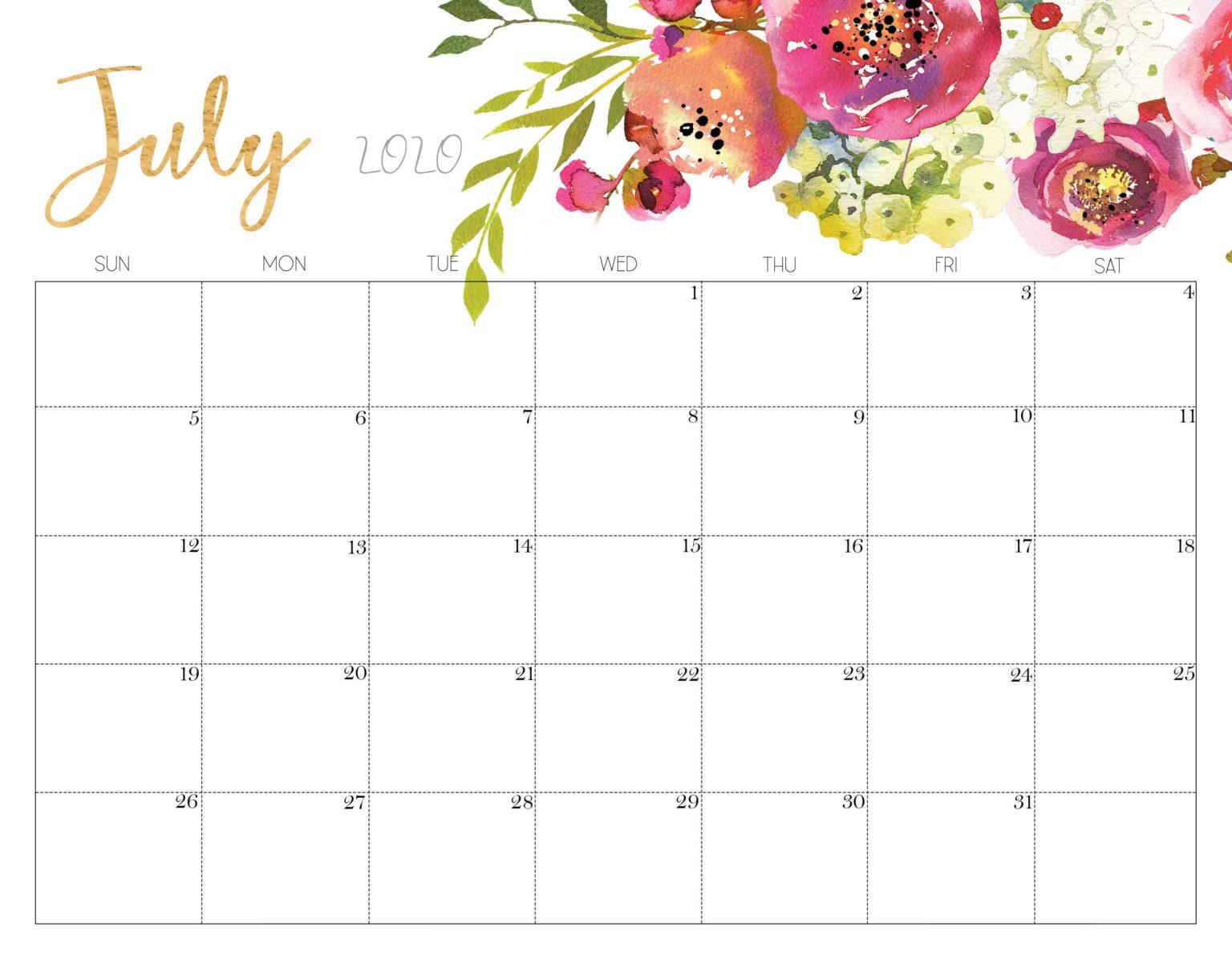 July 2020 Floral Calendar