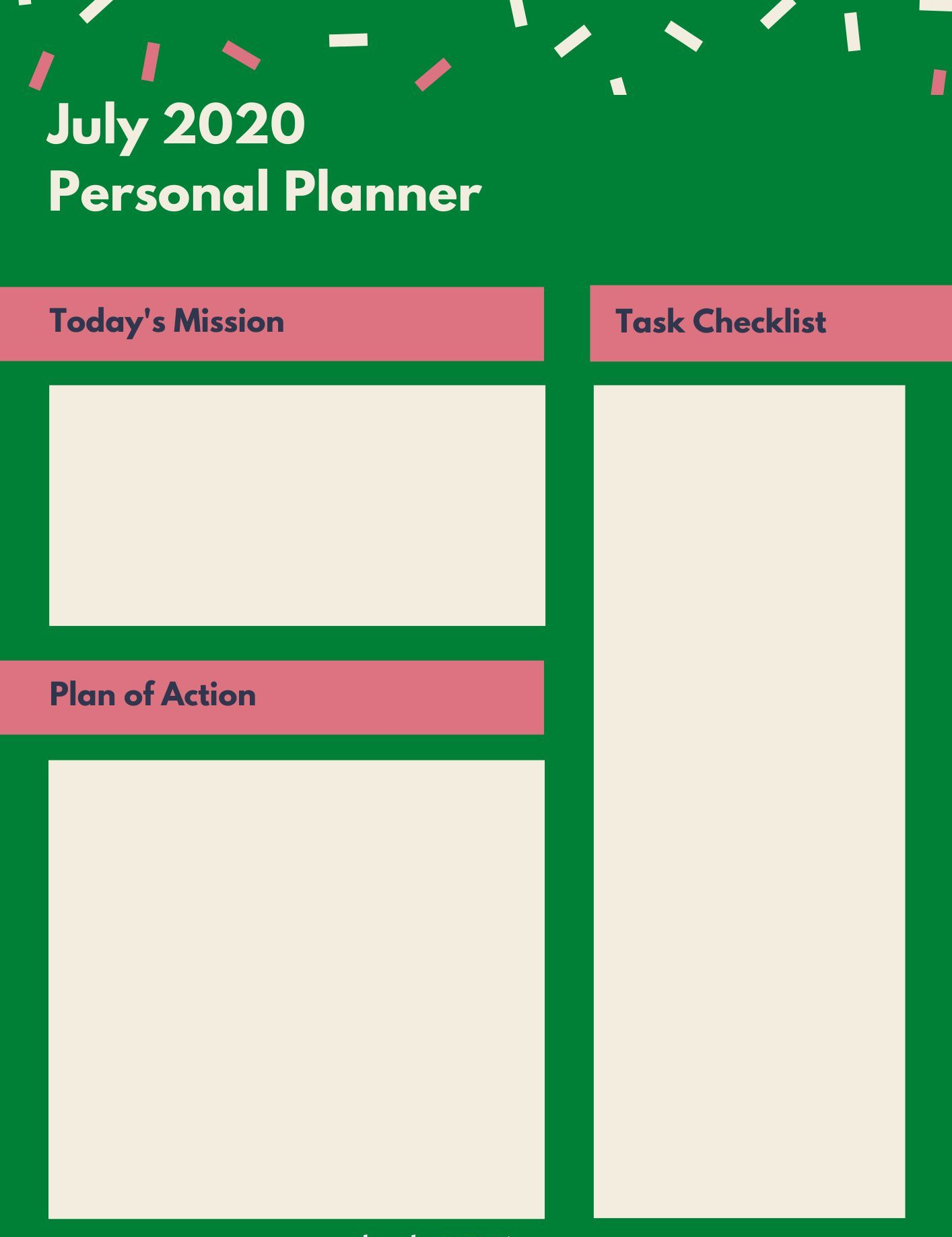 July 2020 Personal Printable Planner
