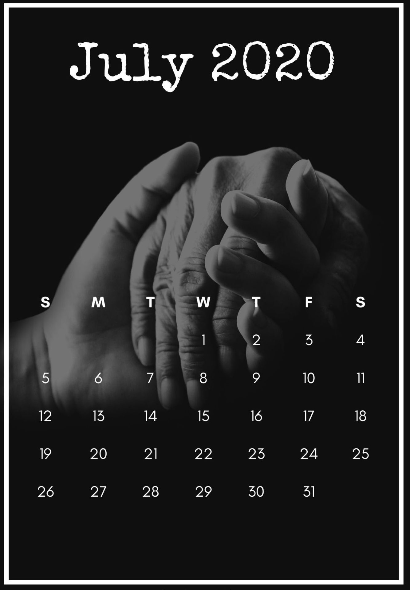 July 2020 Phone Calendar Wallpaper