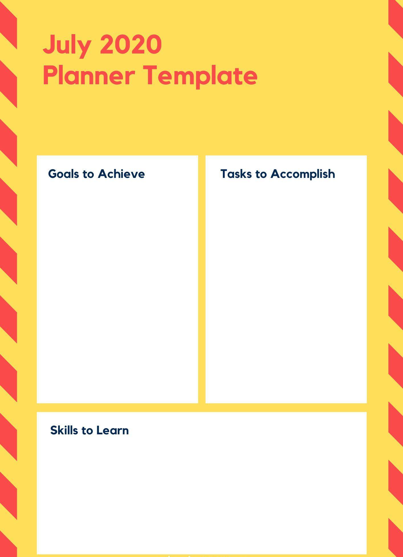 July 2020 Printable Planner Template
