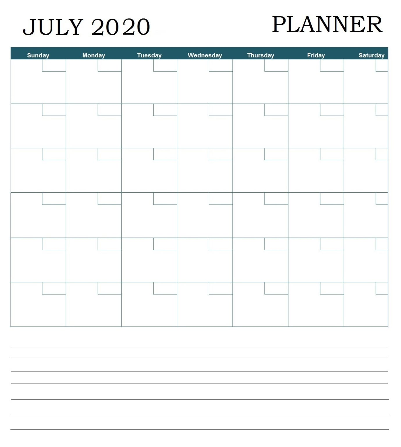 July 2020 Professional Calendar
