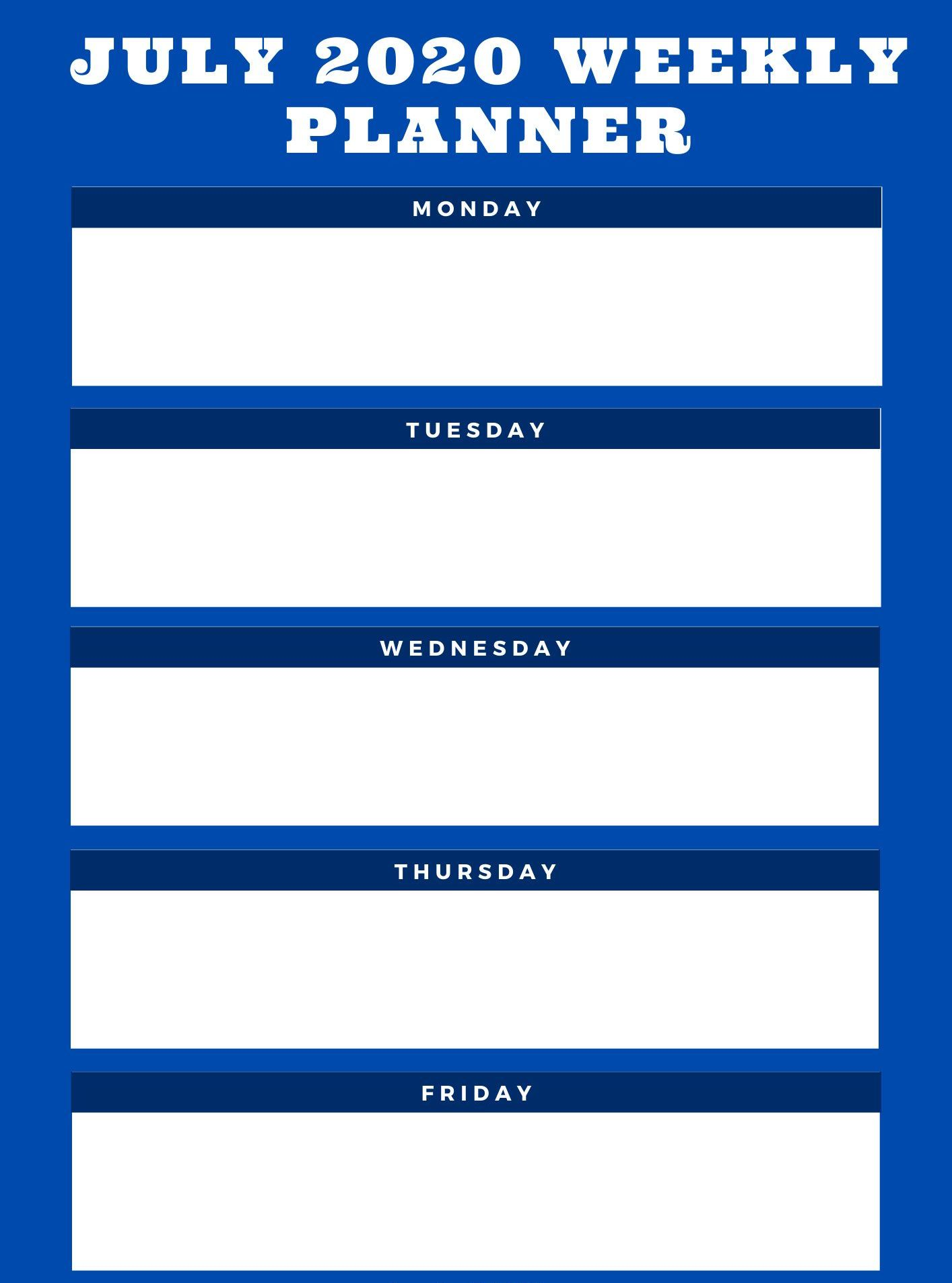 July 2020 Weekly Printable Planner