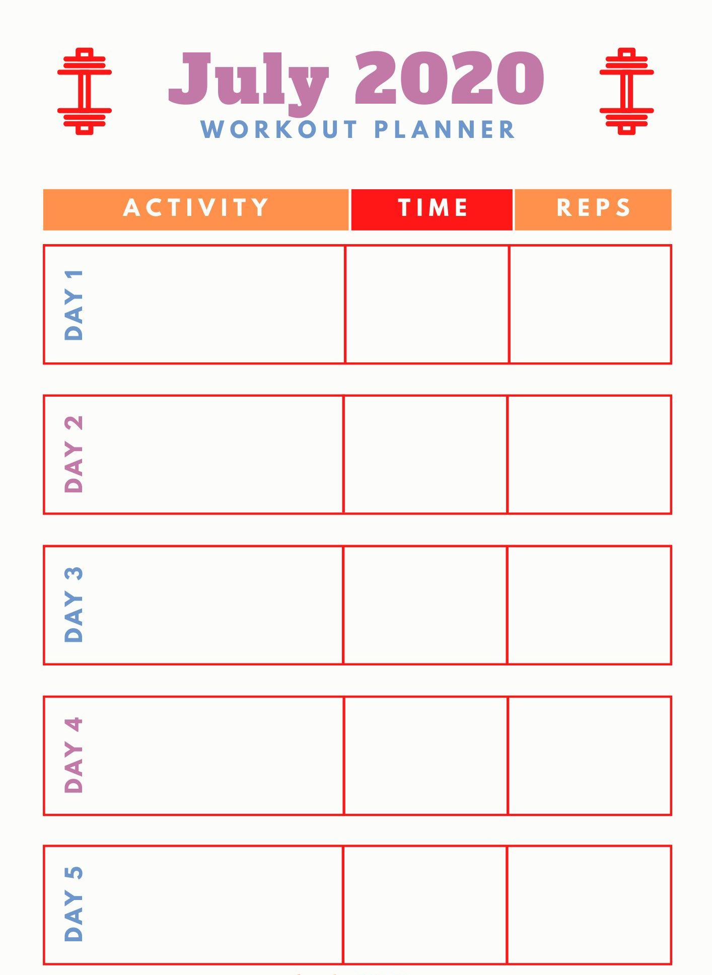 July 2020 Workout Printable Planner