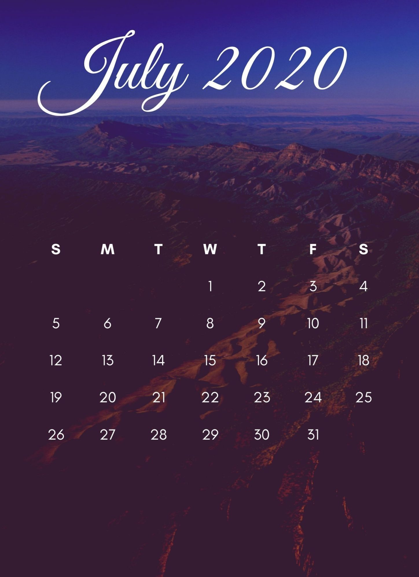 July 2020 iPhone Calendar Wallpaper