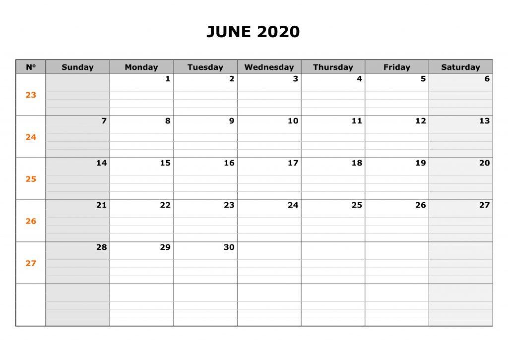 June 2020 Calendar Editable