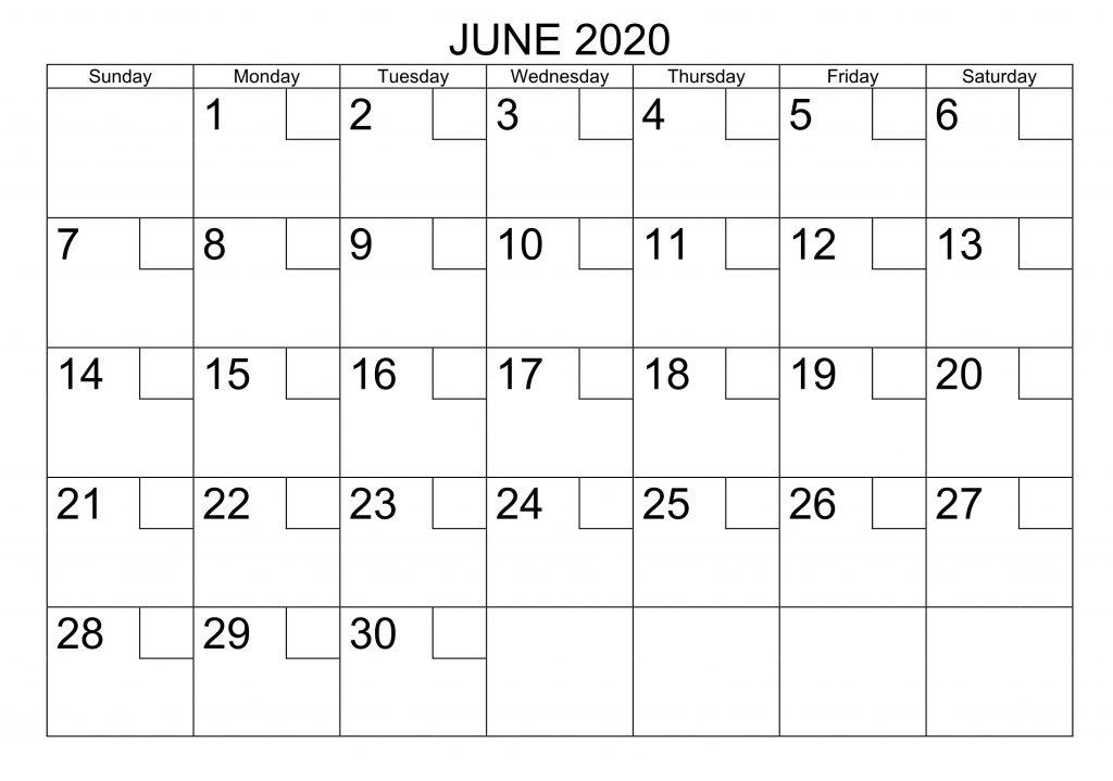 June 2020 Calendar Horizontal