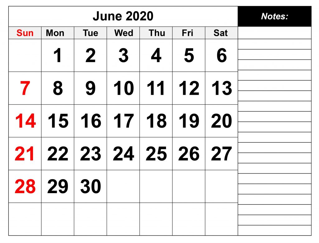 June 2020 Editable Calendar With Notes