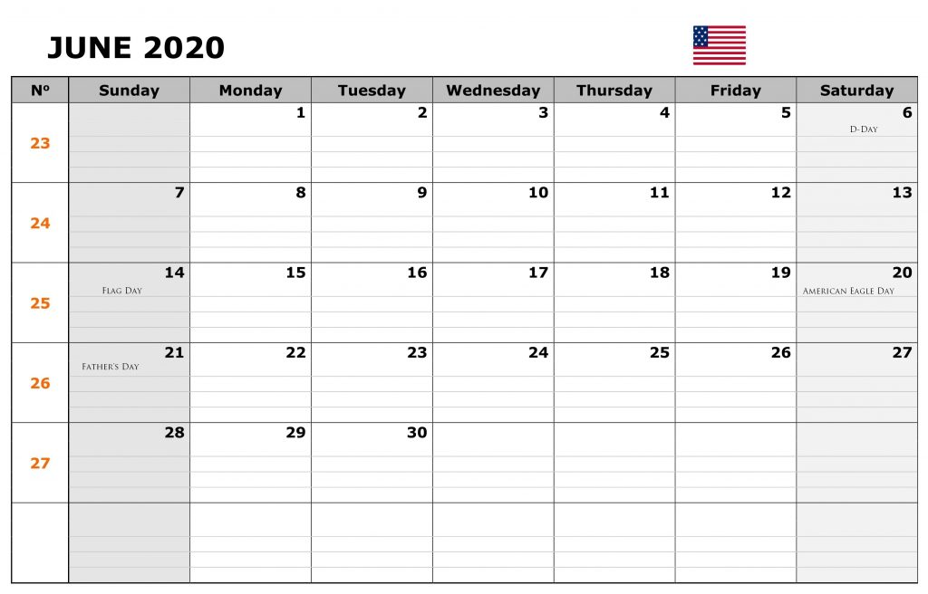 June 2020 Holidays Calendar United States