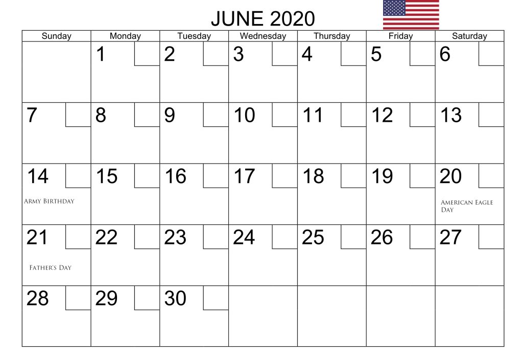 June 2020 USA Bank Holidays