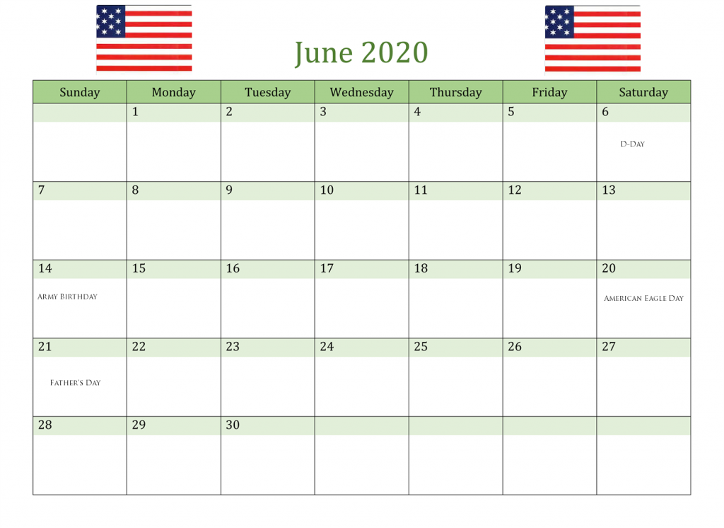 June 2020 USA Federal Holidays
