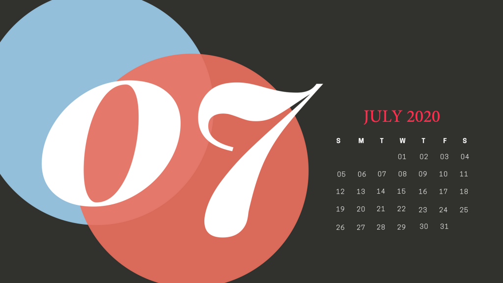 Latest July 2020 Calendar