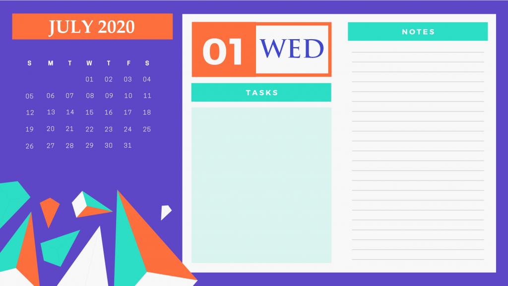 Latest July 2020 Cute Calendar