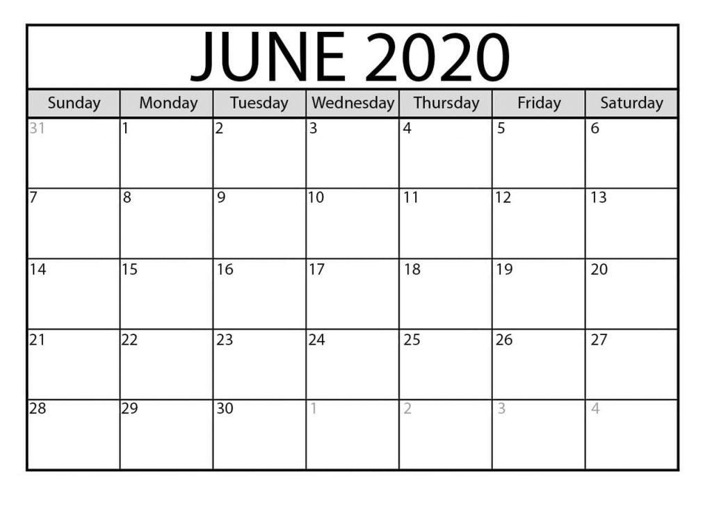 Online June 2020 Calendar Edit
