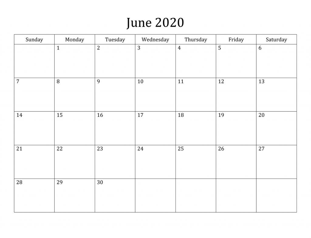 Personalized June 2020 Calendar