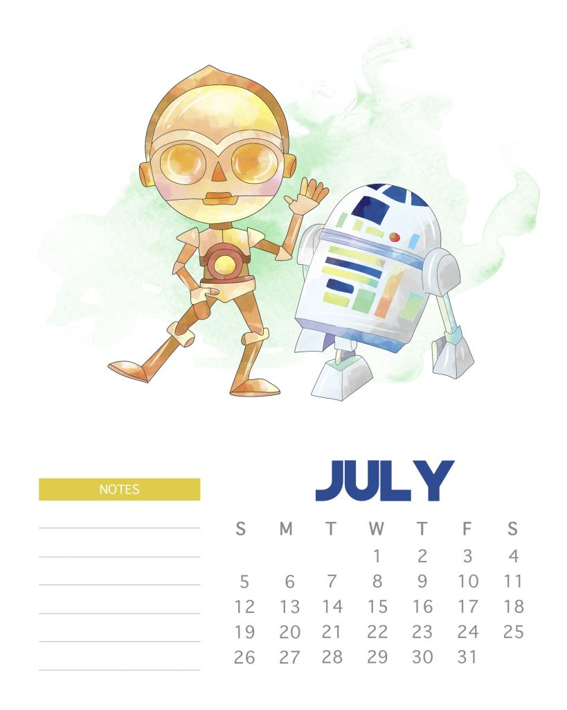 Star Wars July 2020 Calendar