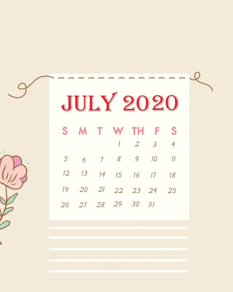 Unique July 2020 Background Calendar