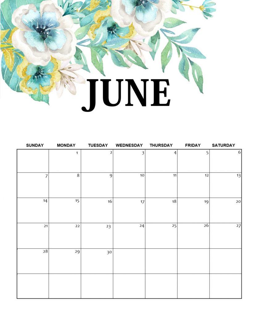 Unique June 2020 Floral Calendar