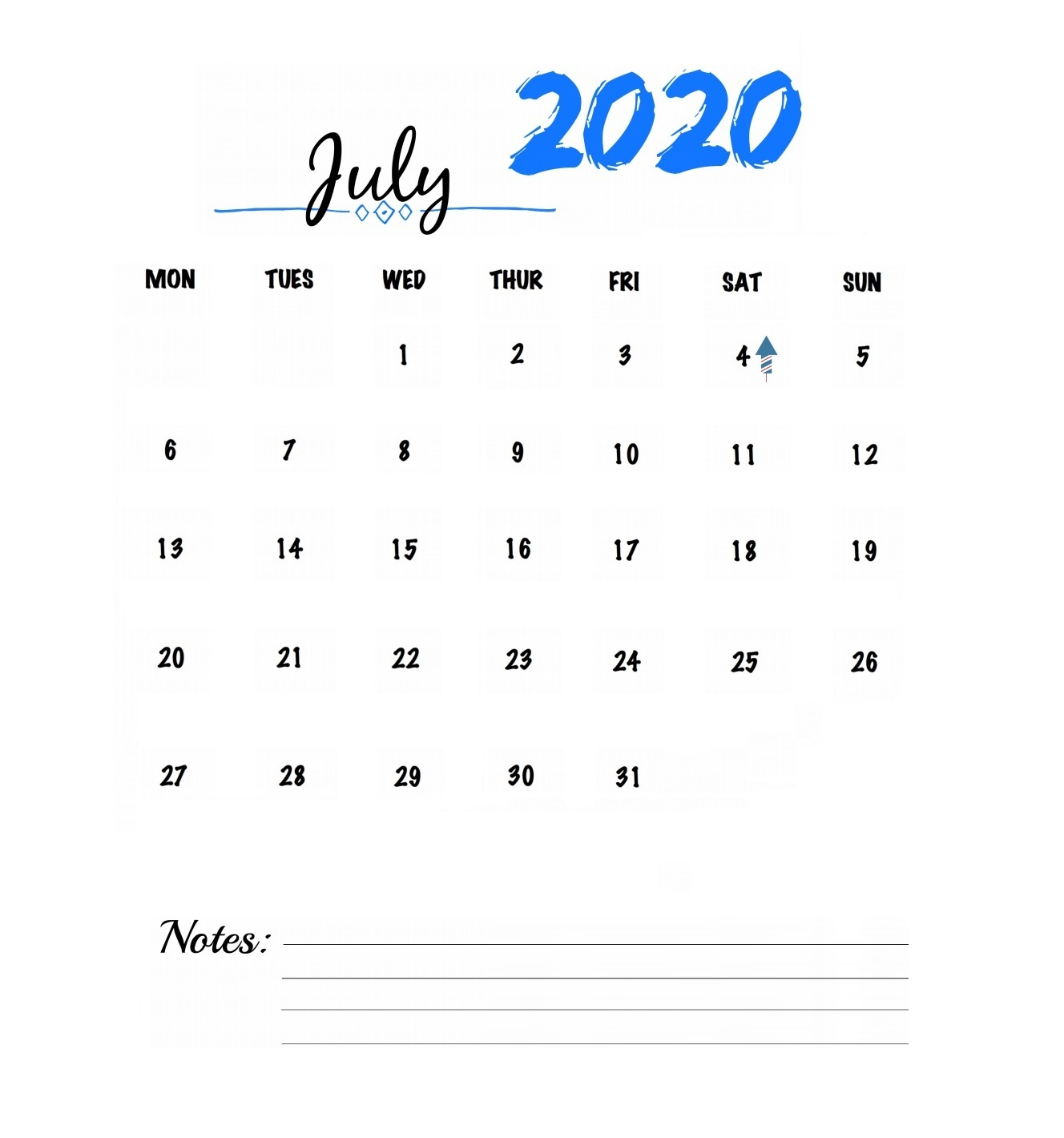 Watercolor July 2020 Calendar