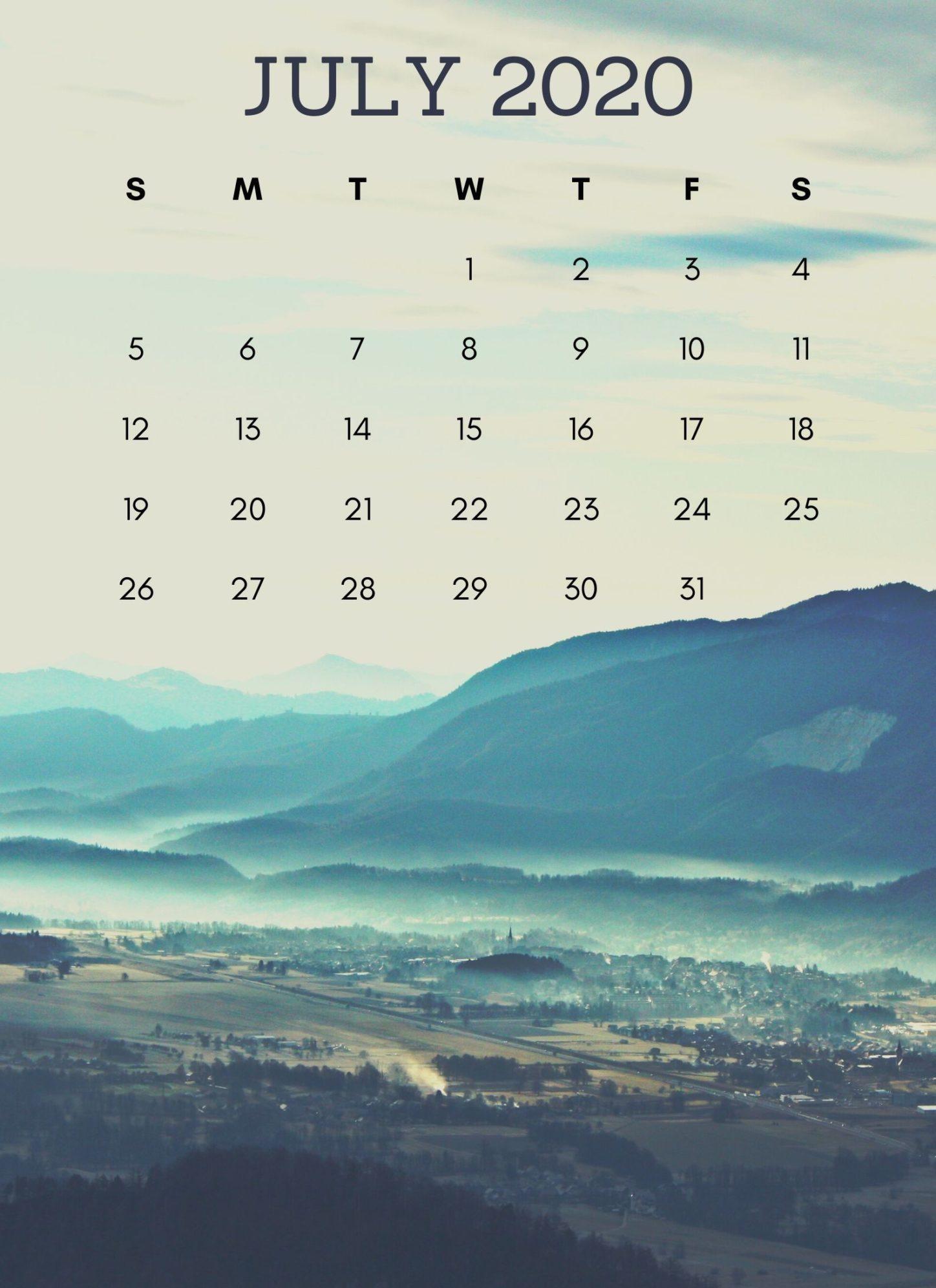 iPhone July 2020 Nature Calendar Wallpaper