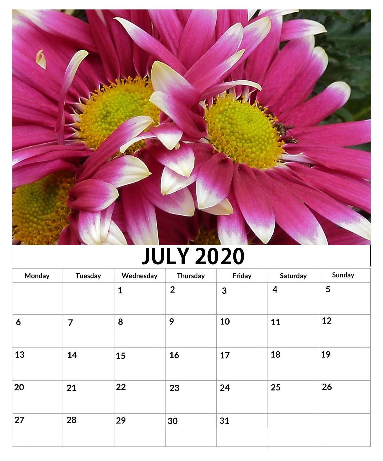Beautiful July 2020 Wall Calendar